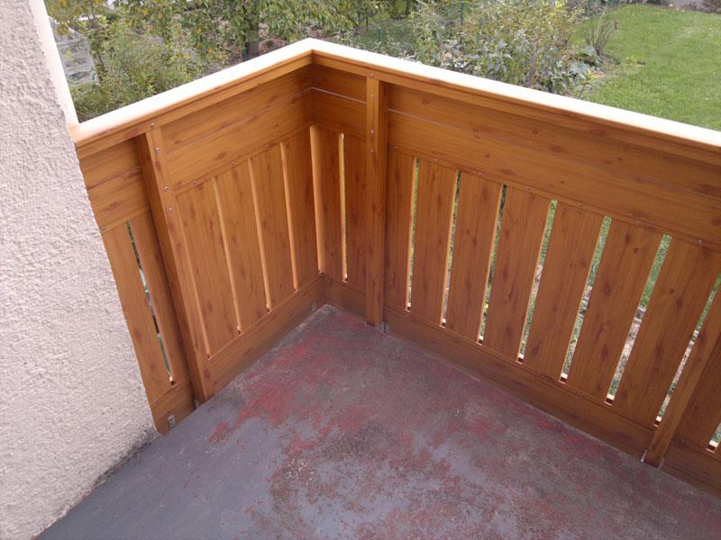 Holzdekor Geländer von innen