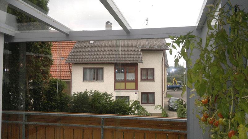 Balkonüberdachung in Alu grau